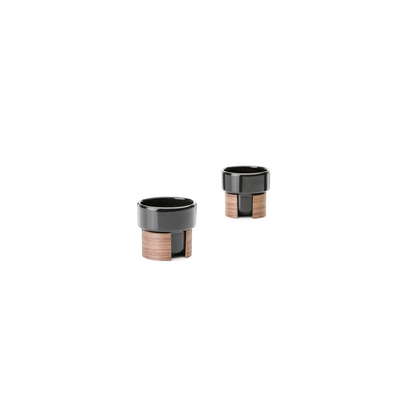WARM - tasses Expresso empilables noires 8 cl x 2