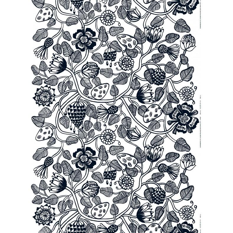 Tissu Marimekko Tiara noir et blanc