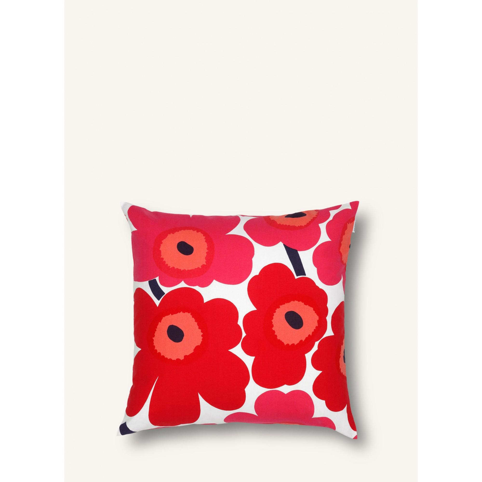 Pieni Unikko cushion cover 50 x 50 cm, white, red Cushion covers