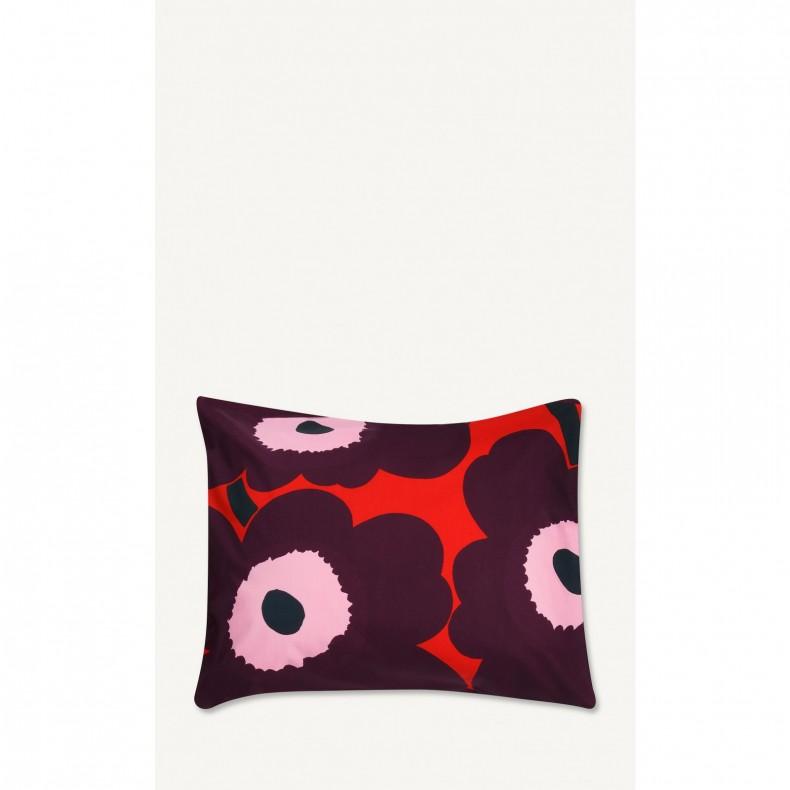 Pieni Unikko housse de coussin 50 x 50 cm, blanc, rouge