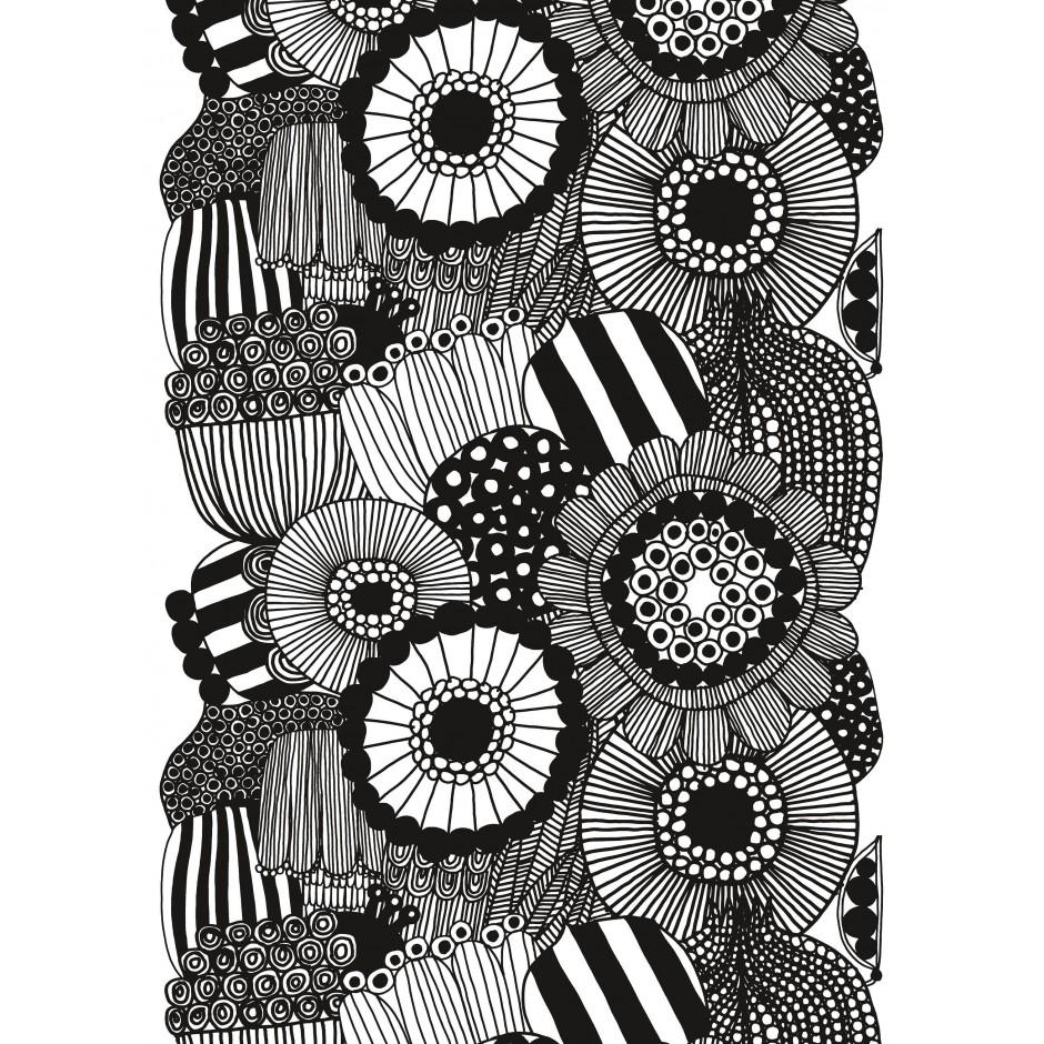 Marimekko Siirtoapuutarha cotton fabric white and black