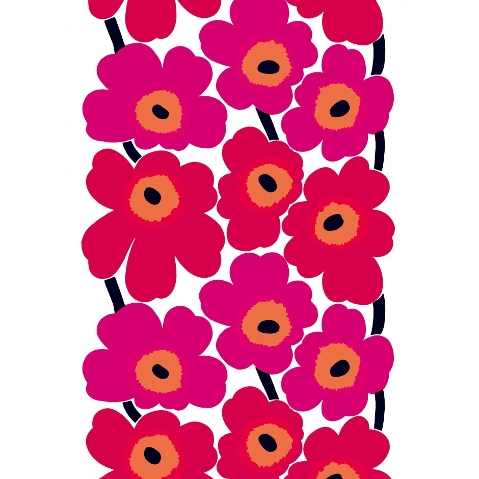 Marimekko Unikko fabric, red on white