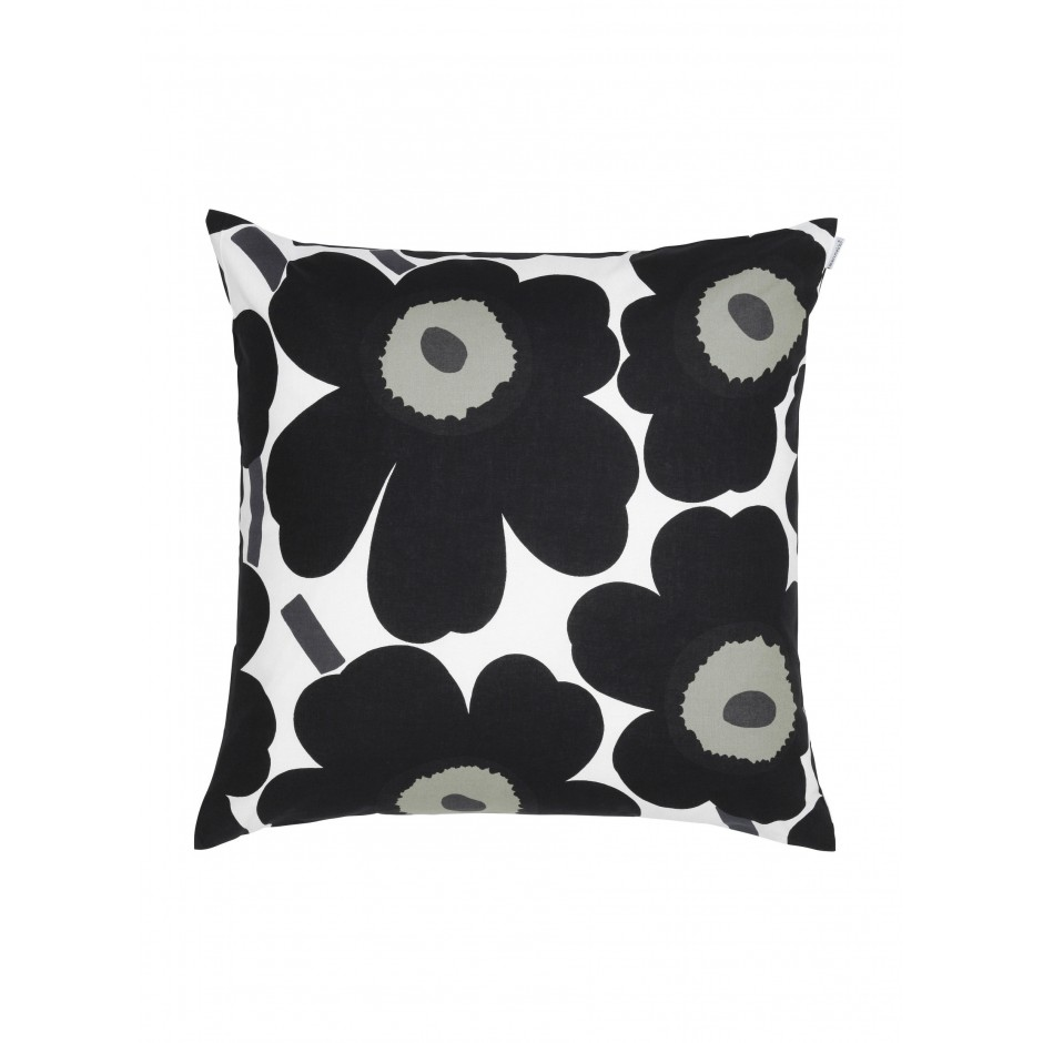 Pieni Unikko cushion cover 50 x 50 cm, white, black