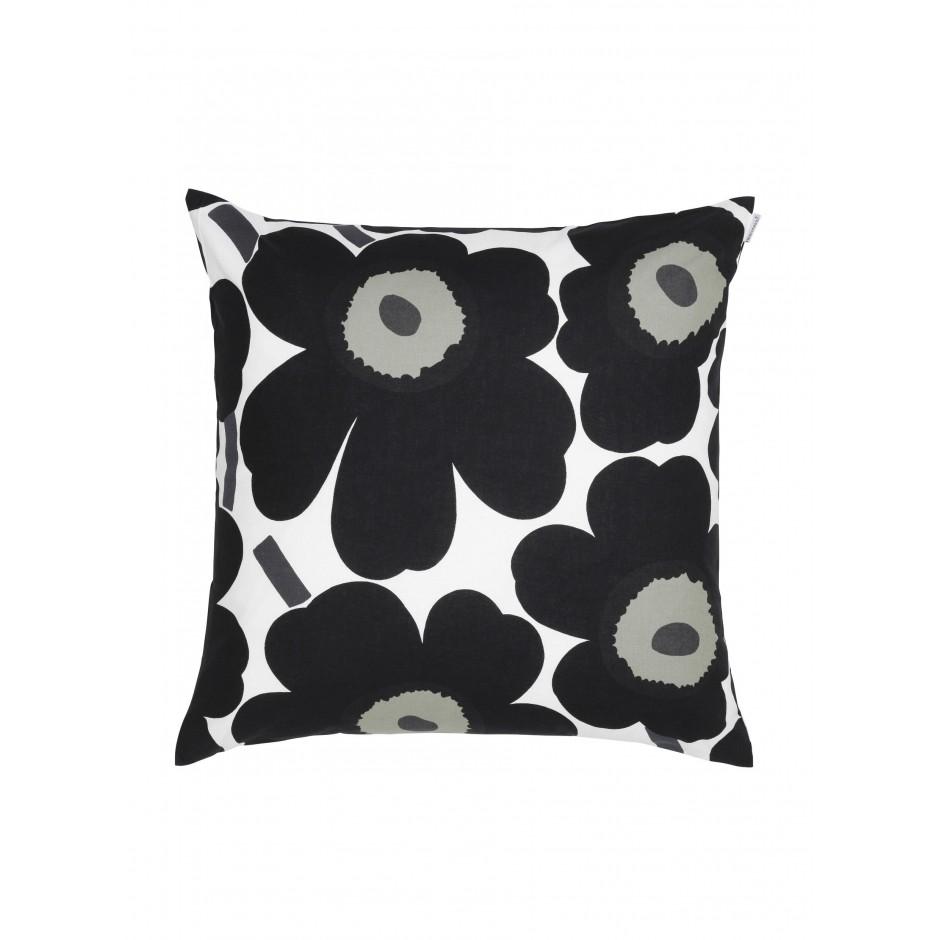 Pieni Unikko housse de coussin 50 x 50 cm, blanc, noir