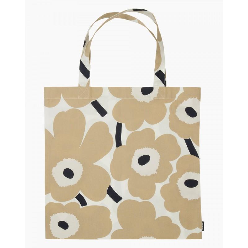 Marimekko Tote bag Pieni Unikko in fresh beige, dark blue and white color combination