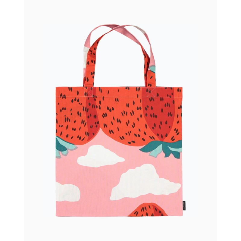 Marimekko Tote bag Pieni Unikko in fresh beige, dark blue and white color combination