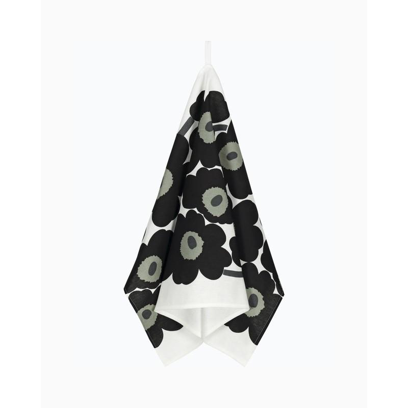 Black Unikko kitchen towel, Marimekko