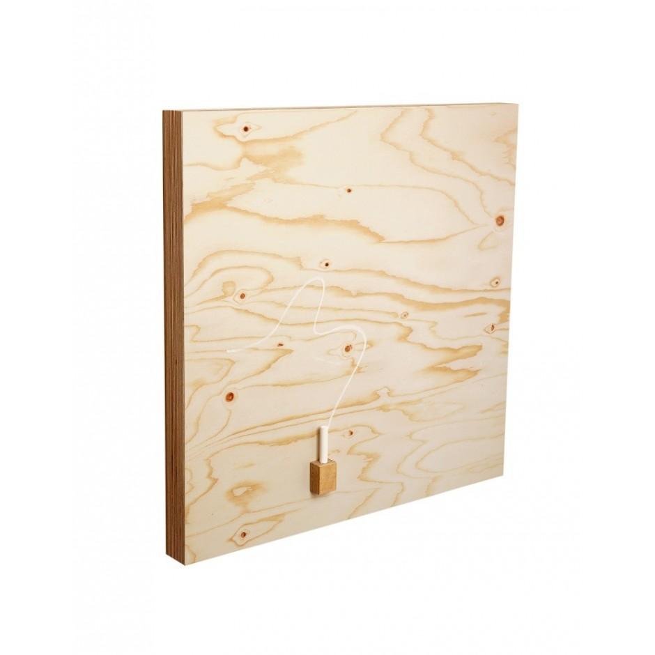Tableau ardoise magnétique carré, imprimé contre plaque du bois 500 x 500 x 40 mm