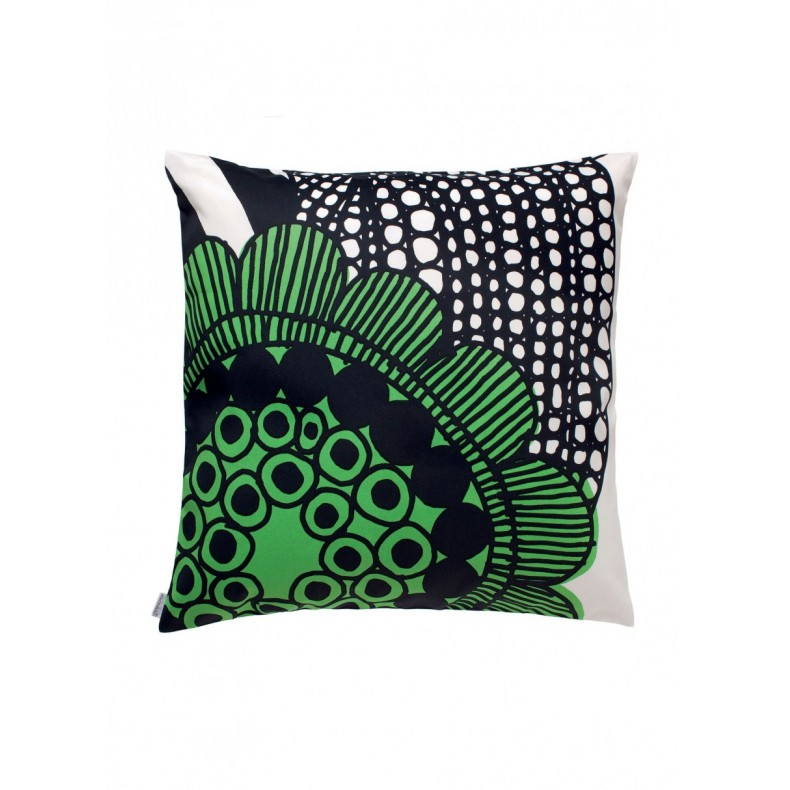 Siirtolapuutarha cushion cover in white, green, turquoise and black
